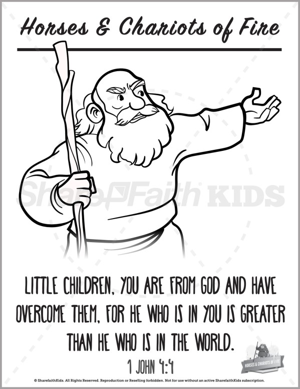 2 Kings 6 Horses and Chariots of Fire Preschool Coloring Pages