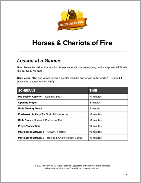 2 Kings 6 Horses and Chariots of Fire Preschool Curriculum