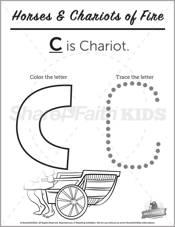 2 Kings 6 Horses and Chariots of Fire Preschool Letter Coloring