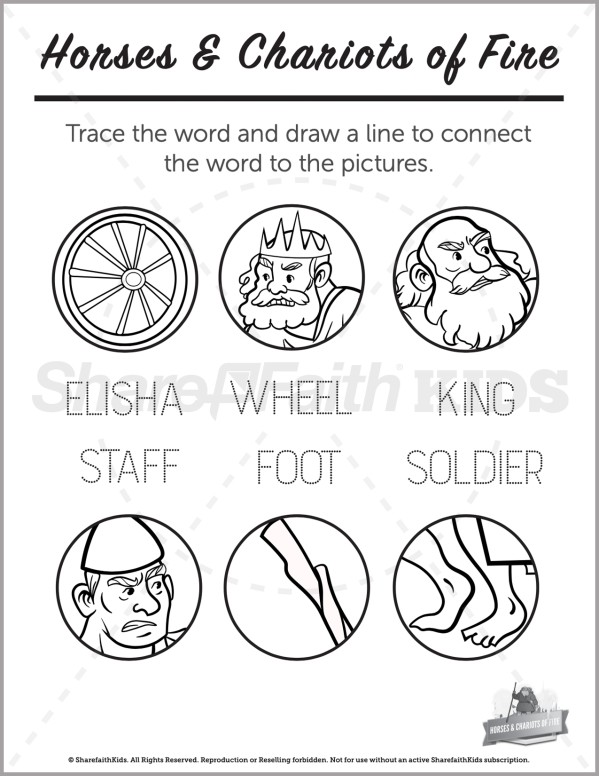 2 Kings 6 Horses and Chariots of Fire Preschool Word Picture Match