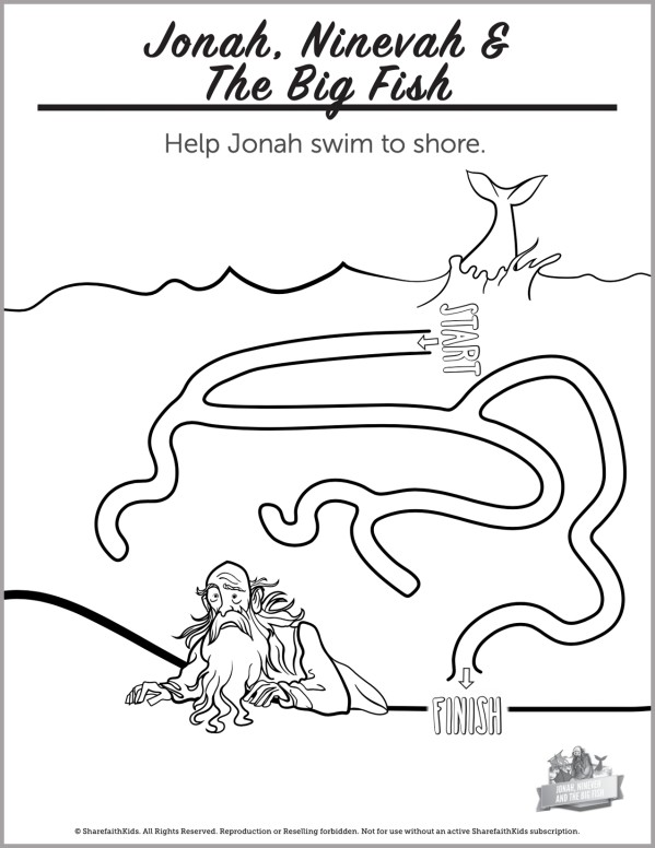 Jonah and the Whale Preschool Mazes