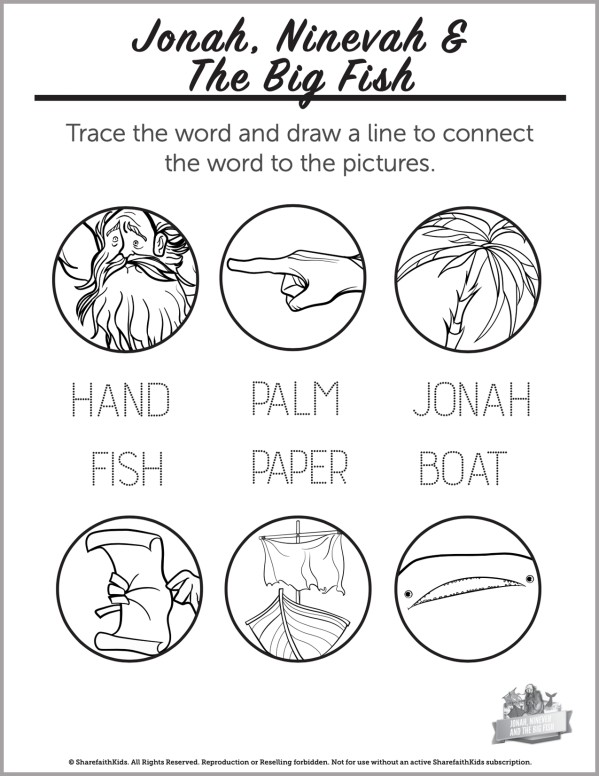 Jonah and the Whale Preschool Word Picture Match