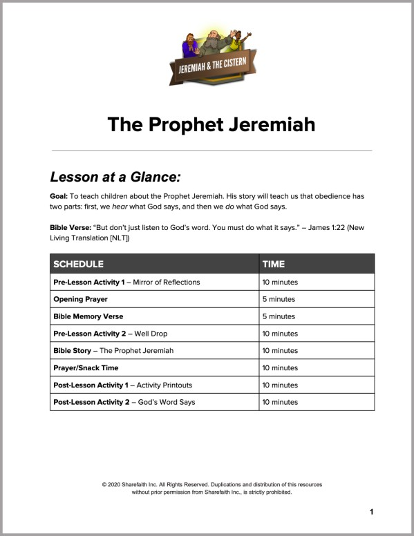Jeremiah 38 The Prophet Jeremiah Preschool Curriculum