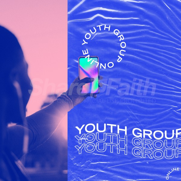 Youth Group Blue Social Media Graphic