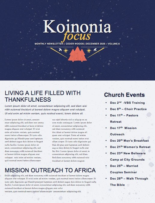 Different Kind Of Christmas Church Newsletter