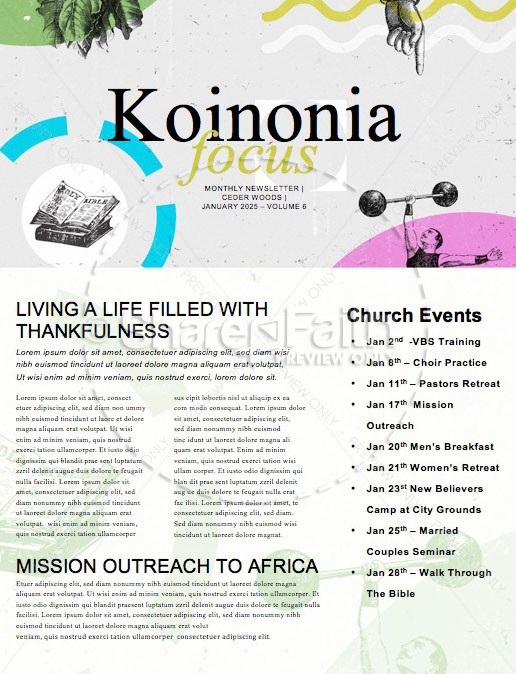 Resolutions Great Year Church Newsletter | page 1