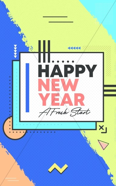 Happy New Year Fresh Start Church Bifold Bulletin