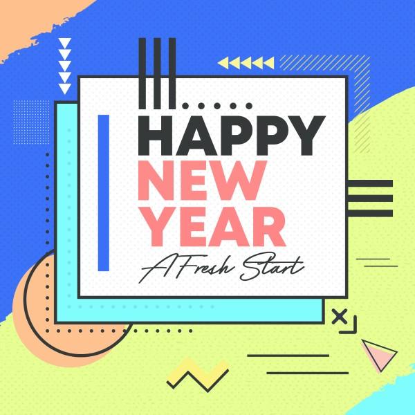 Happy New Year Fresh Start Social Media Graphic