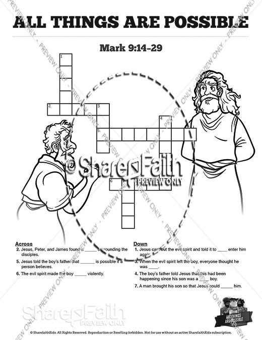 Mark 9 All Things Are Possible Sunday School Crossword Puzzles
