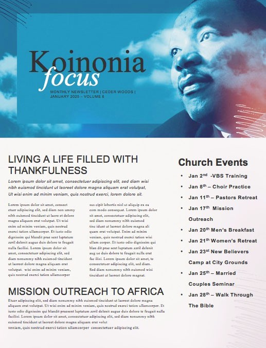 MLK Day Dream Church Newsletter