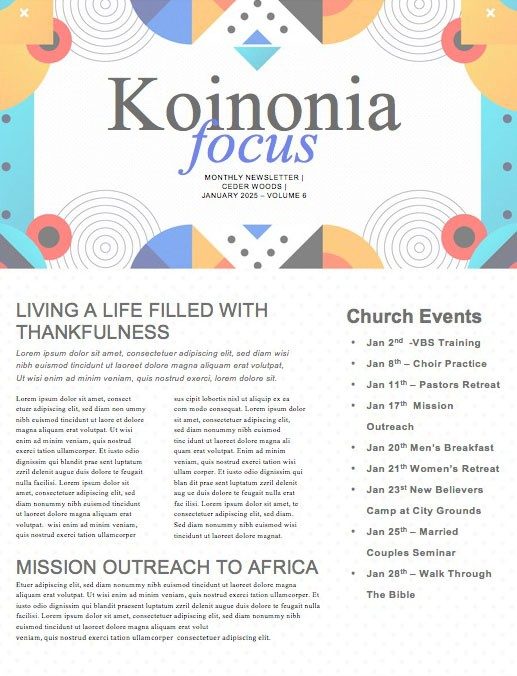 Family Sunday Worship Church Newsletter