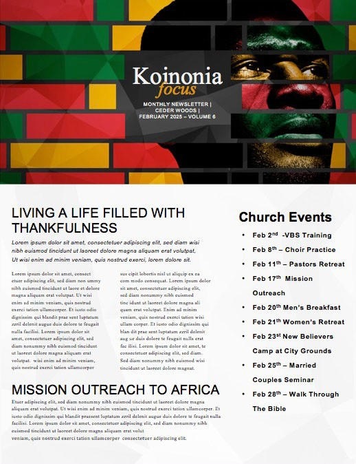 Black History Church Newsletter