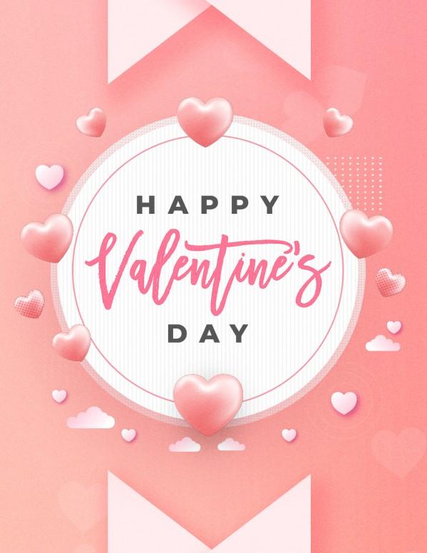 Valentine's Day Pink Church Flyer