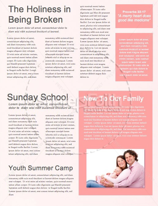 Valentine's Day Pink Church Newsletter