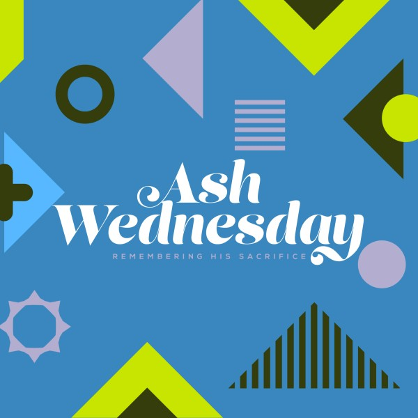 Ash Wednesday Blue Social Media Graphic