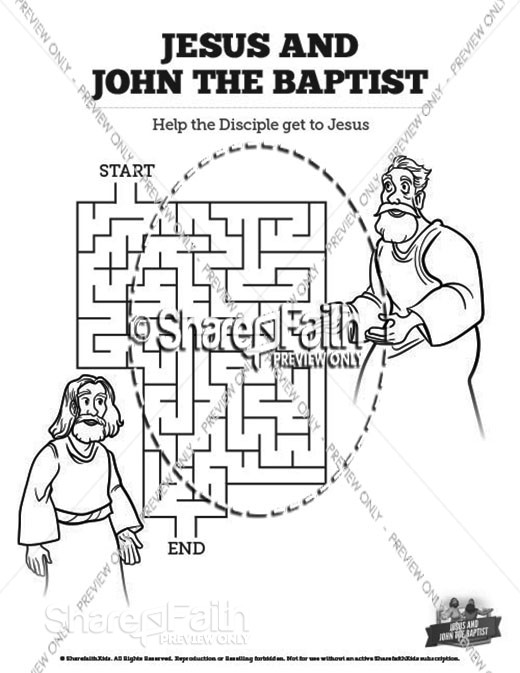 Matthew 11 Jesus and John the Baptist Bible Mazes