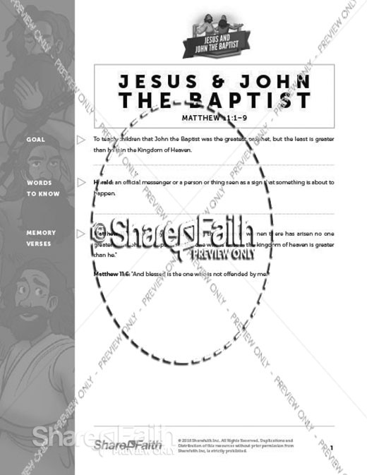 Matthew 11 Jesus and John the Baptist Curriculum
