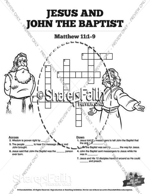 Matthew 11 Jesus and John the Baptist Sunday School Crossword Puzzles