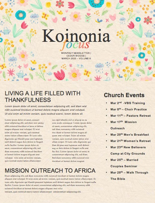 Spring Blooms Church Newsletter