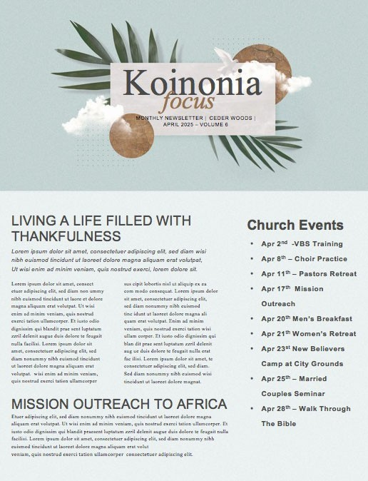 Palm Sunday Blue Church Newsletter