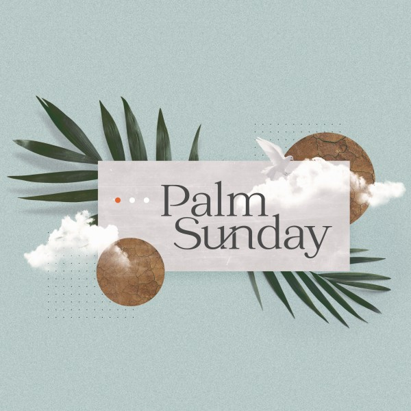 Palm Sunday Blue Social Media Graphic