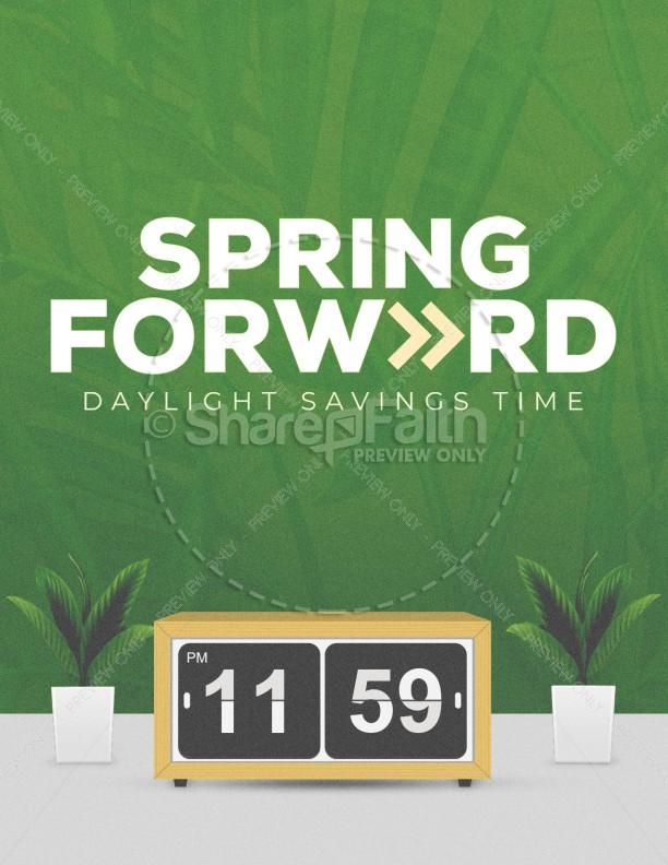 Spring Forward Green Church Flyer