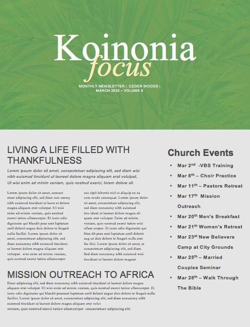 Spring Forward Green Church Newsletter