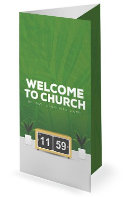 Spring Forward Green Church Trifold Bulletin