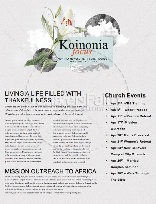 Easter Lily Church Newsletter