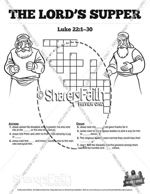 Luke 22 The Lords Supper Sunday School Crossword Puzzles