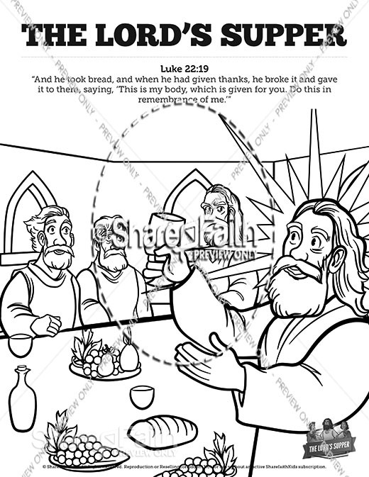 Luke 22 The Lords Supper Sunday School Coloring Pages