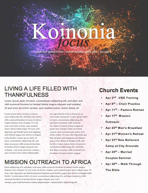 Grace And Truth Church Newsletter