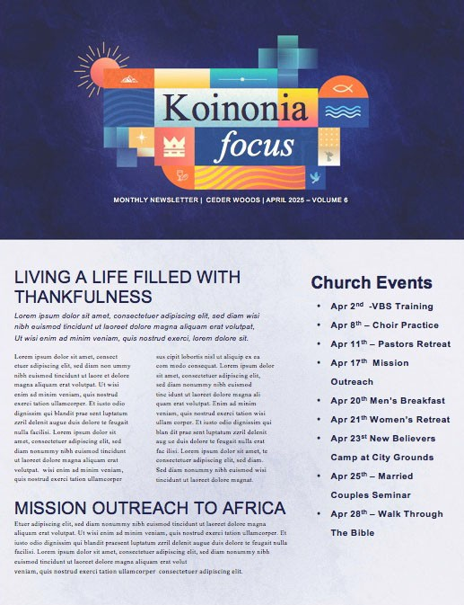 King Is Coming Church Newsletter