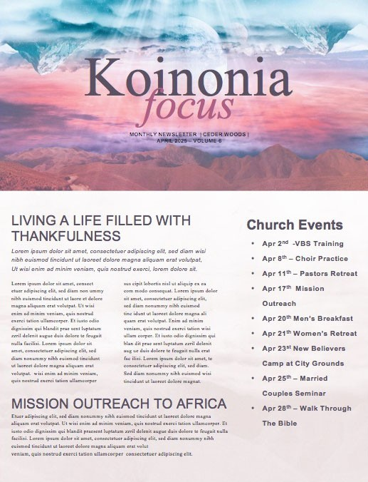 Heaven On Earth Church Newsletter