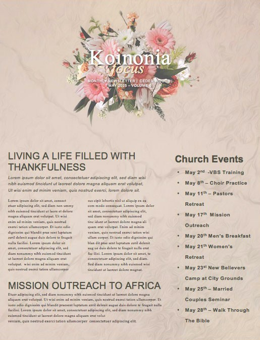 Mother's Day Flowers Church Newsletter