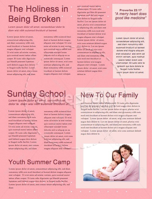 Mother's Day Pink Church Newsletter