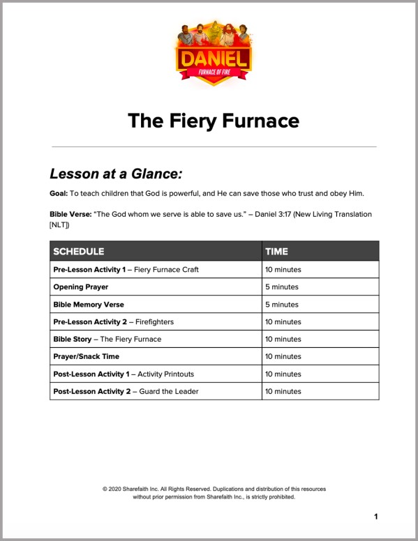 Daniel 3 The Fiery Furnace Preschool Curriculum