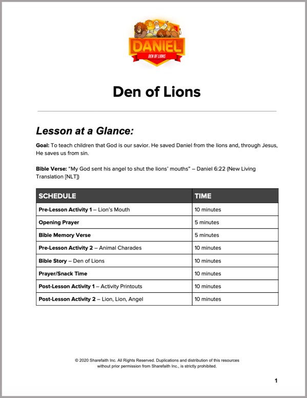 Daniel 6 Den of Lions Preschool Curriculum