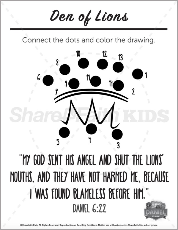 Daniel 6 Den of Lions Preschool Dot to Dot