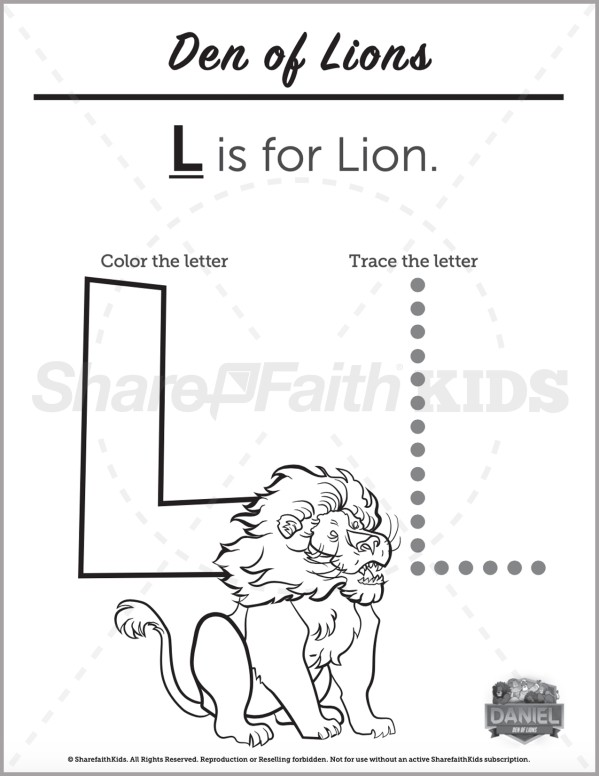 Daniel 6 Den of Lions Preschool Letter Coloring