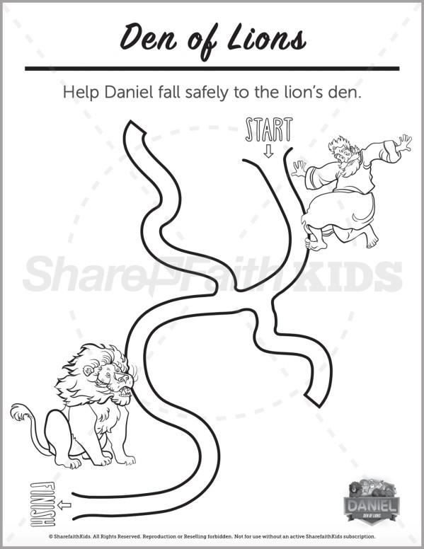 Daniel 6 Den of Lions Preschool Mazes