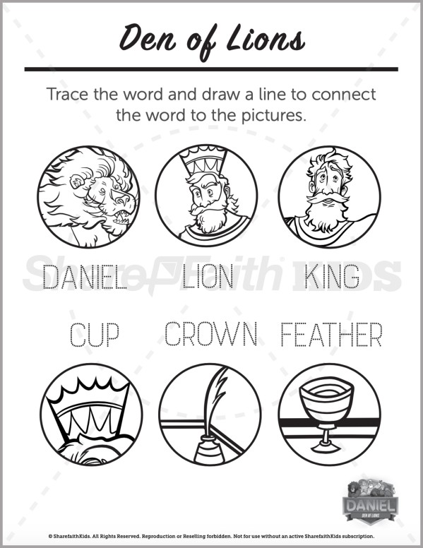 Daniel 6 Den of Lions Preschool Word Picture Match