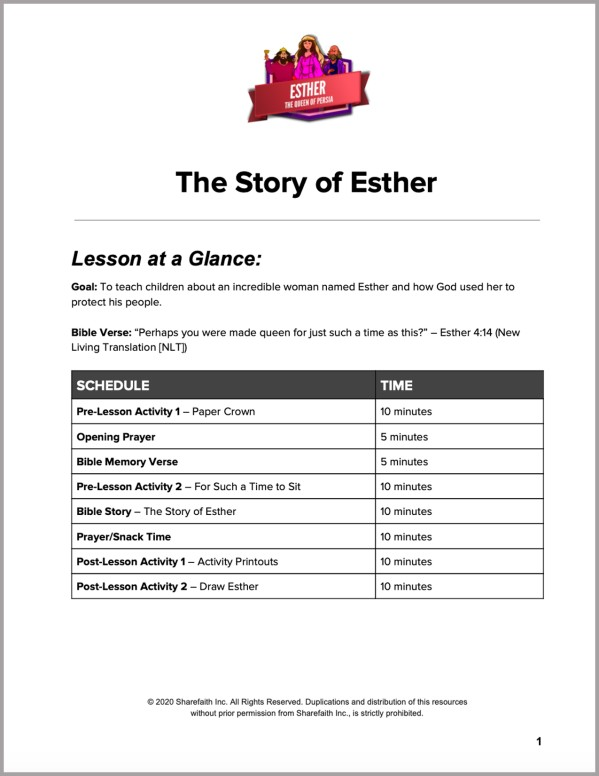 The Story of Esther Preschool Curriculum