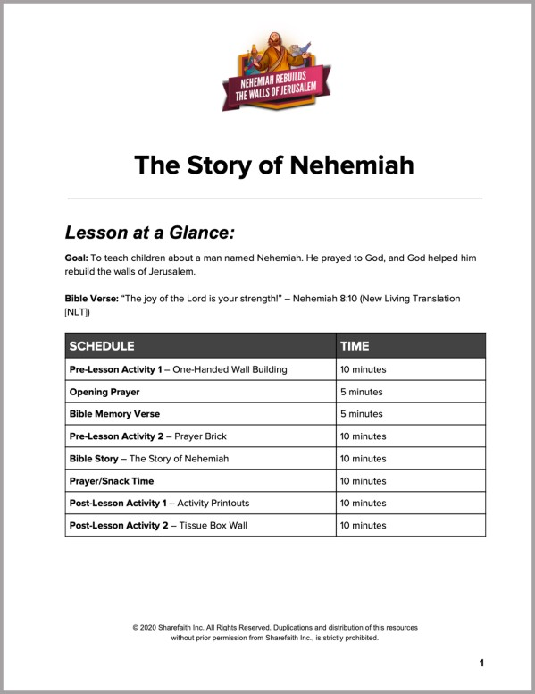 The Story of Nehemiah Preschool Curriculum