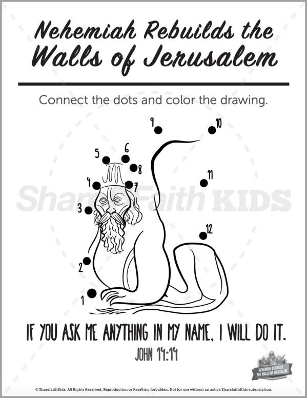 The Story of Nehemiah Preschool Dot to Dot
