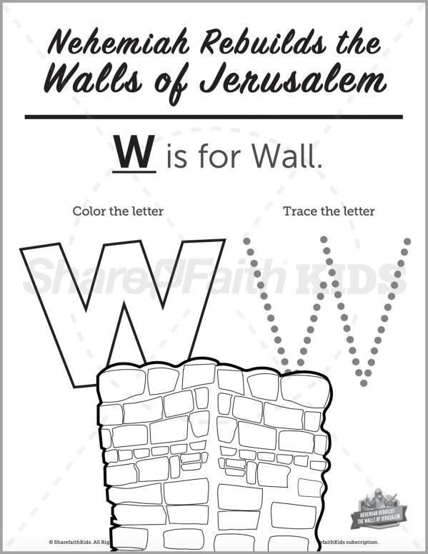 The Story of Nehemiah Preschool Letter Coloring