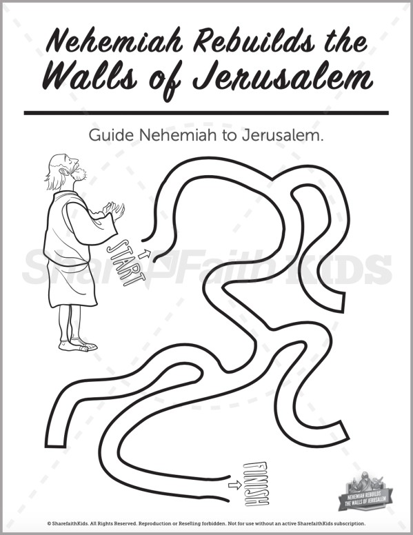 The Story of Nehemiah Preschool Mazes