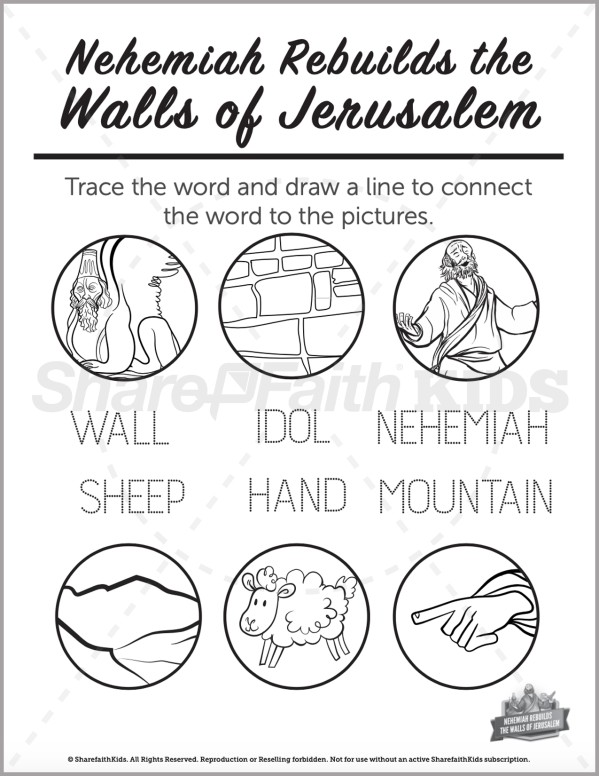 The Story of Nehemiah Preschool Word Picture Match