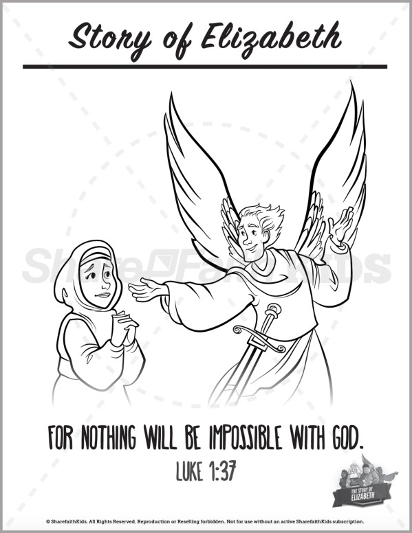 Luke 1 The Story of Elizabeth Preschool Coloring Pages