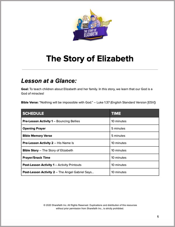 Luke 1 The Story of Elizabeth Preschool Curriculum